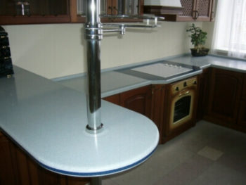 A bar counter made of artificial stone
